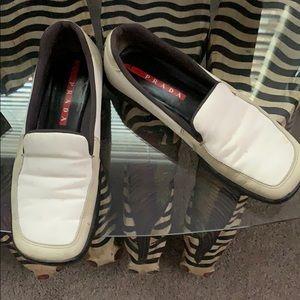 Prada White Canvas Loafer